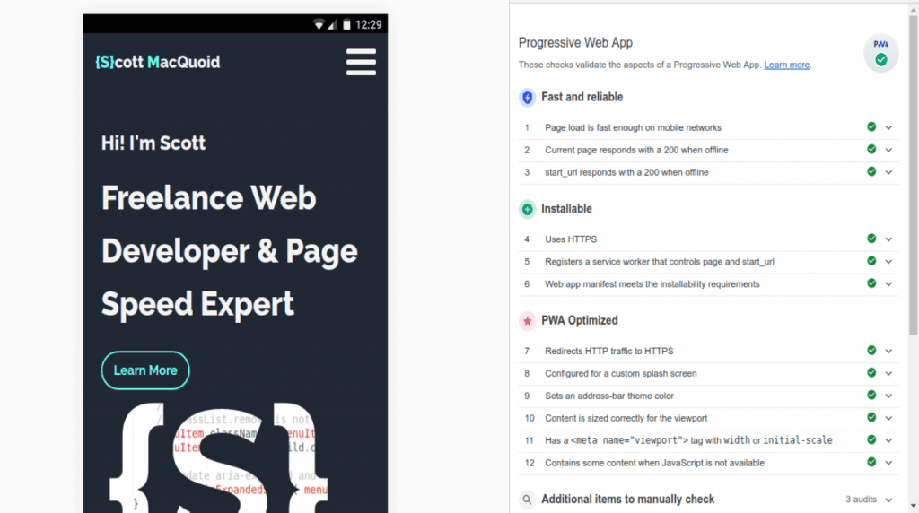 progressive web app Test Chrome